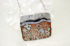 Cloisonne Flower Garden Necklace in Sterling Silver Copper and Enamel Brown Blue