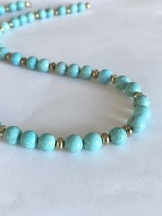 Beaded gemstone necklace. Turquoise beads necklace