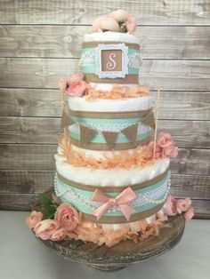 Shabby Chic Diaper Cake in Burlap Mint and Peach by AllDiaperCakes