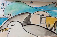 #art #draw #aquarelle #seagull two seagulls