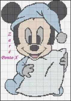 Mickey Mouse x-stitch Cross Stitch Baby, Cross Stitch Kits, Cross Stitch Designs, Cross Stitch Patterns, Baby Mickey Mouse, Mickey Mouse And Friends, Disney Quilt, Crochet Diagram, Plastic Canvas Patterns