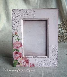 Napkin Decoupage, Decoupage Box, Decoupage Vintage, Craft Projects, Projects To Try, Shabby Chic Frames, Frame Crafts, Painting On Wood, Woodworking Crafts