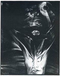 Alberto Martini's MISTERI (Mysteries) a graphic poem, containing six illustrations (Love, Death, Infinity, Madness, Dream, Birth)