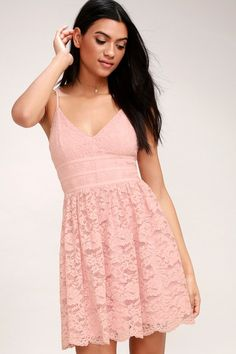 bdfe07c9f7 The Wish Me Luxe Blush Pink Lace Skater Dress will be your lucky charm for  every