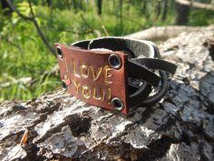 Braided leather bracelet I love you magic braid by RozaBracelets