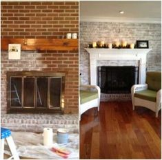 4 Jaw-Dropping Tips: Fireplace Hearth Granite craftsman fireplace exposed beams.Fireplace Insert Accessories fireplace and tv style.Fireplace With Tv Above Bedroom. Brick Fireplace Wall, White Wash Brick Fireplace, Fireplace Update, Brick Fireplace Makeover, Fireplace Remodel, Small Fireplace, Fireplace Design, Brick Fireplaces, Fireplace Ideas