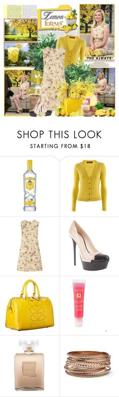 """Lemon forever -Kirsten Dunst....."" by purplecherryblossom ❤ liked on Polyvore featuring Bruno Manetti, Chloé, Casadei, Orla Kiely, Lancôme, Chanel and MNG by Mango"