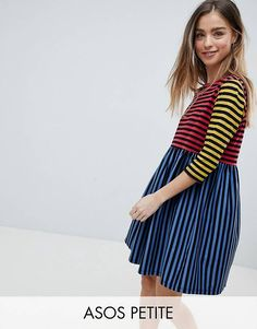 ASOS PETITE Cut About Stripe Mini Smock Dress