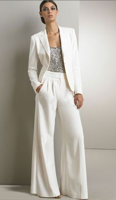 2017 Bling Sequins Ivory White Pants Suits Mother Of The Bride Dresses Formal Ch., 2017 Bling Sequins Ivory White Pants Fits Mom Of The Bride Attire Formal Ch. 2017 Bling Sequins Ivory White Pants Fits Mom Of The Bride Attire Forma. Mother Of The Groom Suits, Mode Outfits, Fashion Outfits, Cheap Fashion, Affordable Fashion, Fashion Clothes, Boho Fashion, Fashion Women, Wedding Pantsuit