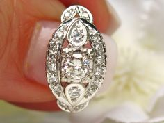 Antique Engagement Ring Transitional Cut 0.71ctw Diamond Cluster Wedding Ring 14K White Gold Art Deco Engagement Ring Size 5!