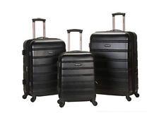 Rockland Luggage Set 3PC Spinner Suitcases Hardcase Expandable TSA Black