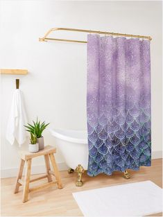 """Sable Rouge"" Shower Curtain by FernandoVieira Ombre Shower Curtain, Beach Shower Curtains, Or Violet, Sparkle, Blue Clouds, Bathroom Interior, Home Decor, White Ombre, Purple Ombre"