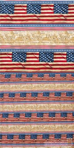 """cotton fabric with faded declaration of independence and flag motif, striped 11"""""""" with small stars in white, blue, red and faded shades, very high quality fabric, typical Timeless Treasures great quality #Cotton #FamousPlaces #Landmarks #USAFabrics"""