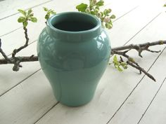 Vintage Turquoise Pottery Vase by lookonmytreasures on Etsy