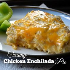 Creamy Chicken Enchilada Pie--so much cheesy and creamy goodness it is hard to believe it is low in calories and fat! So yummy and simple for a healthy dinner--gonna make tonight!