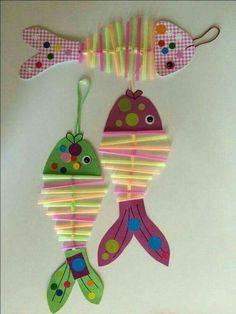 Basteln crafts for kids, fish crafts und kids, parenting. Kids Crafts, Sea Crafts, Summer Crafts, Toddler Crafts, Diy And Crafts, Craft Projects, Arts And Crafts, Paper Crafts, Summer Diy
