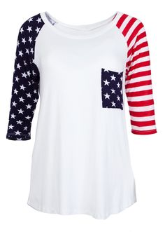 Ladies American Flag Print Three Quarter Sleeve Top #newarrivals #usa #americanspirit #starsandstripes #americanflag #redwhiteblue