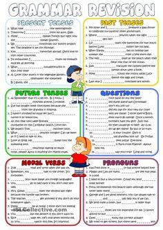 Grammar revision *Present, Past, Future Tenses, Questions, Modal Verbs, Pronouns*