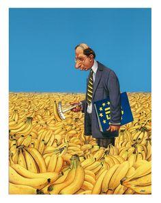 Ordnung muss sein: der EU-Bananenkrümmungsprüfer bei der Arbeit