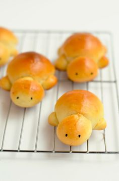 Turtle-shaped buns! What a cute way to incorporate sea turtles into your Thanksgiving celebration!  #Thanksgiving (Recipe by http://themoonblushbaker.blogspot.com/2013/03/scary-lunch-hall-foods-sweet-milk.html)