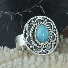 HOT SELLING 925 SOLID STERLING SILVER Larimar RING 4.58g DJR9694 SZ-7.5 #Handmade #Ring