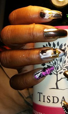 Chrome and one stroke nailart