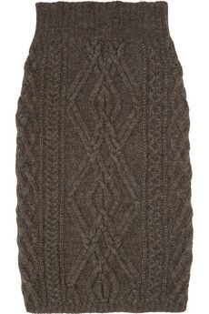 CHLOÉ  Cable-knit merino wool-blend skirt. Pretty sure I can make this for less than 500 bucks.