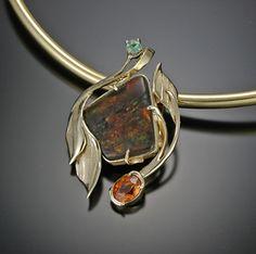 ART NOU WORLD 18 kt Amolite, Emerald & Spesortite Garnet one of a kind necklace. Sold. Truly magnificent!