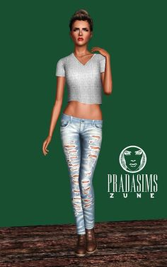 Zune Set – jeans and t-shirt at Prada Sims - Sims 3 Finds