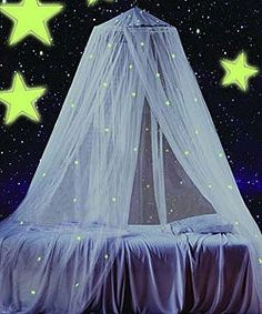 Give your bedroom a playful and airy elegance with this white canopy featuring glow in the dark stars. The useful and decorative canopy mounts easily to the ceiling and fits a twin through full size bed. Teen Room Decor, Room Ideas Bedroom, Bedroom Themes, Galaxy Bedroom Ideas, Teen Girl Bedrooms, Big Girl Rooms, Kids Bed Tent, Kawaii Room, Teen Bedding