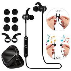 Bluetooth Headphones Wireless Earbuds Inear Noise Cancelling Earphones with Magnetic Automatic Turning OnOff for Running -- Want additional info? Click on the image.-It is an affiliate link to Amazon.