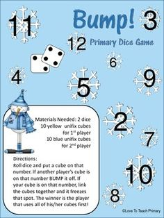 FREE Winter Math Dice Games