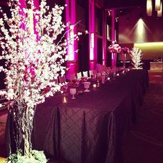 Austin Texas Event, Floral Pinspotting, Purple, Room Wash, Uplighting, Outdoor Lighting, Chandeliers, Lanterns, Centerpiece lighting, Intelligent Lighting Design, ILD Lighting,