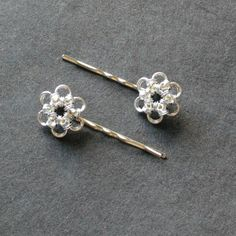 Chainmaille  Flower Frenzy Hair Pins by moodyandsanguine on Etsy, $19.00