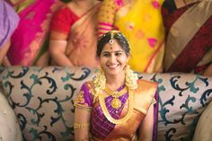 Traditional South Indian bride wearing bridal saree, jewellery and hairstyle…