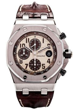 "Audemars Piguet Royal Oak Offshore Chronograph ""Safari"" Watch - 26470ST.OO.A801CR.01. New model for 2014. Stainless steel case (42mm diameter, 14.5mm thick), octagon-shaped steel bezel, black ceramic screw-down crown & push-pieces, brown hornback strap with steel folding clasp, ivory/brown ""Safari"" dial with brown Arabic numerals and hands, chronograph function, date calendar, 59 jewel AP caliber 3126/3840 self-winding movement with 55 hour power reserve, water-resistant to 100 meters."