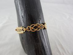 Vintage Art Deco Gold Tone Links Bracelet by Dockb30Crafts on Etsy