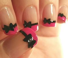 Hot Pink French Tips With Black Bows & Rhinestones On The Thumbs ~ My Nails : April-07-2015 ~ http://www.facebook.com/NailsThatShine