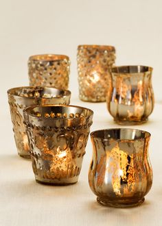 Antiqued Silver Mercury Glass Votive Holders Wedding Party Reception