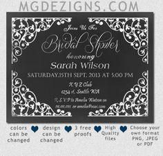 Printable Chalkboard Bridal Shower Invitation