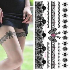 1 Pcs étanche tatouage temporaire autocollant sur le corps jambe transfert d'eau Sexy dentelle bas faux tatouage Flash pour fille femmes