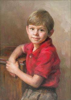 Fabulous oil portrait of a young boy by a Portraits, Inc. artist