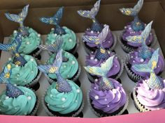 Candy Melts and edible gold leaf mermaid tails for cupcakes!