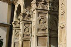 Sárospatak, medallions in the Rákóczi castle, Hungary Renaissance Architecture, Homeland, Hungary, New York City, My Photos, Lion Sculpture, Castle, Statue, Staircases