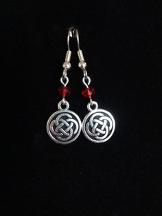 Outlander Inspired Earrings, Stainless French Hooks, Shimmer Crystals, Silver Plated Celtic Knot Flat Charms