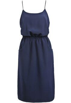 Navy Spaghetti Strap Pockets Chiffon Dress