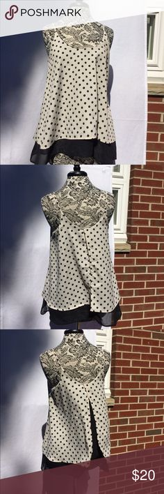 💞🌷Hi, I'm Priya Cream Spaghetti strap top with black polkadots and black lining.  100% polyester. Made in the USA!    ASKING PRICE or BEST OFFER 💸💰💵 Lila Tops Blouses