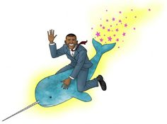 obama narwhal - this makes me happier than it should