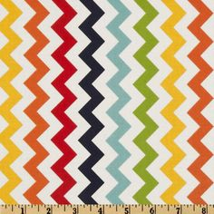 Riley Blake Chevron Small Rainbow -- $8.98 per yard -- Designed by RBD Designers for Riley Blake Designs, this cotton print fabric is perfect for crafts, quilting, apparel and home décor accents. The chevron stripe is vertical to the selvedge. Colors include navy, aqua, green, yellow, red, orange and white.