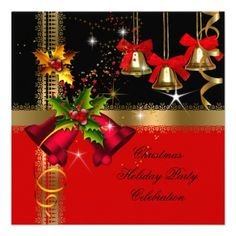 Christmas Holiday Party Red Bells Black Gold Invites